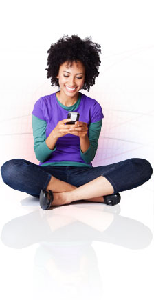 Girl sitting with smart phone
